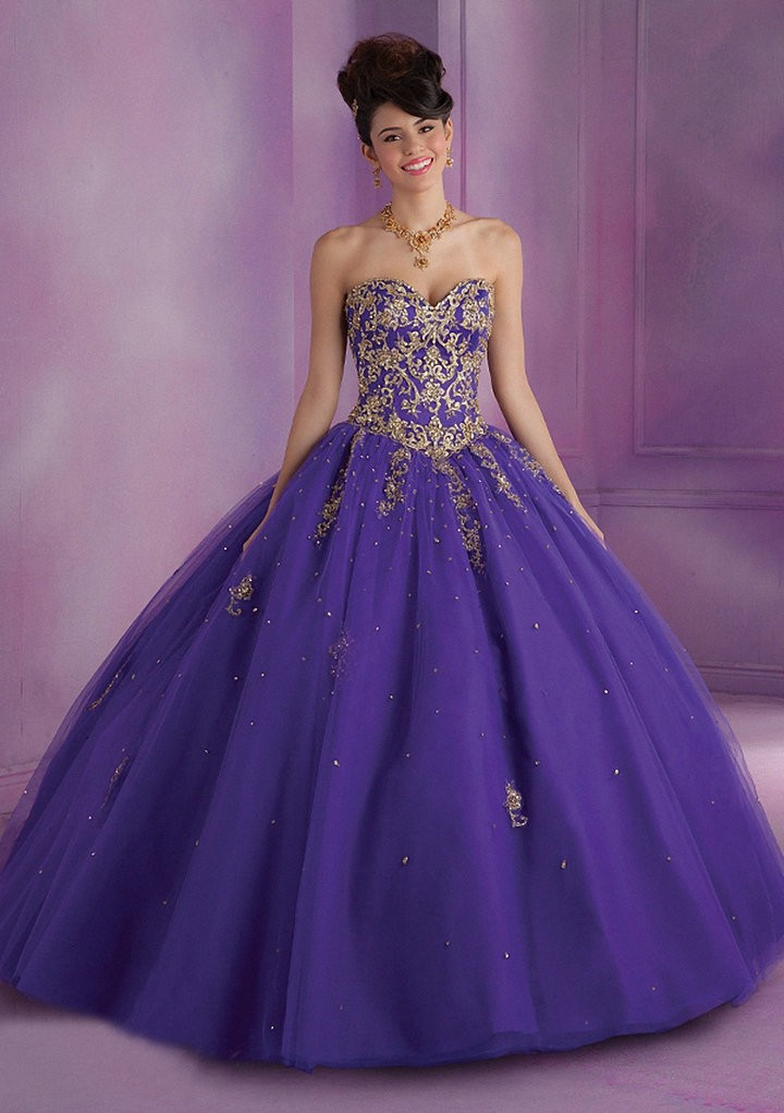 Vnaix Q2005 Luxury Sweetheart Off The Shoulder Purple Party Gown Long Lace Crystal Quinceanera Dresses Ball Gown 2015 in Quinceanera Dresses from Weddings Events