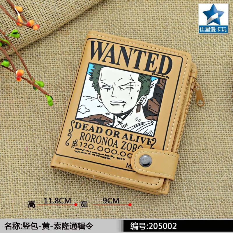 Anime One Piece PU Short Zero Wallet/the WANTED Roronoa Zoro Coin Purse with Interior Zipper Pocket japanese anime poke death note attack on titan one piece game ow short wallet with coin pocket zipper poucht billetera