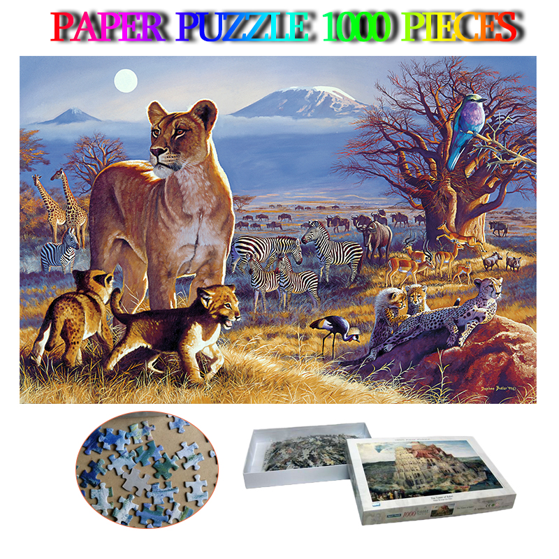Kilimandjaro crépuscule papier adultes Puzzle 1000 pièces cerveau formateur Puzzle jouets enfants éducation cadeaux Puzzle jeu