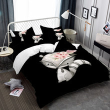 3/4Pcs Bed Linens Set 3D Bedding Pink Rose Flower Gray Fox Bedclothes Twin Full Queen King Size Duvet Cover Pillowcase
