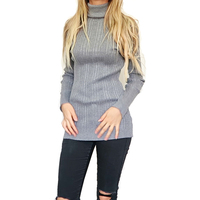 Slim Stretchable Women S Long Sleeve Turtleneck Stripe Computer Knitted Pullover Sweater
