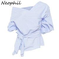 Neophil 2016 Ladies Elegant Blue White Shirts V Neck Sexy Off Shoulder Three Quarter Puff Sleeve