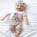 2017 Moda bebê roupas de menina bonito roupas recém-nascidos Flores T shirt + calças 2 pcs terno ocasional conjunto de roupas de bebê infantil roupas