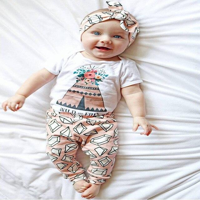 53c125abb 2019 moda bebé niña ropa linda recién nacido flores camiseta + Pantalones 2  piezas traje casual