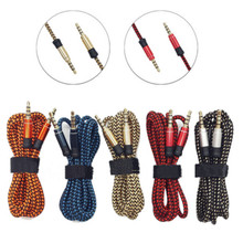 5 Colors 1.5M/5ft  3.5mm Male To Male Woven Fabric Braided Auxiliary Aux Audio Cable Male Cord for PC iPod MP3 For samsung