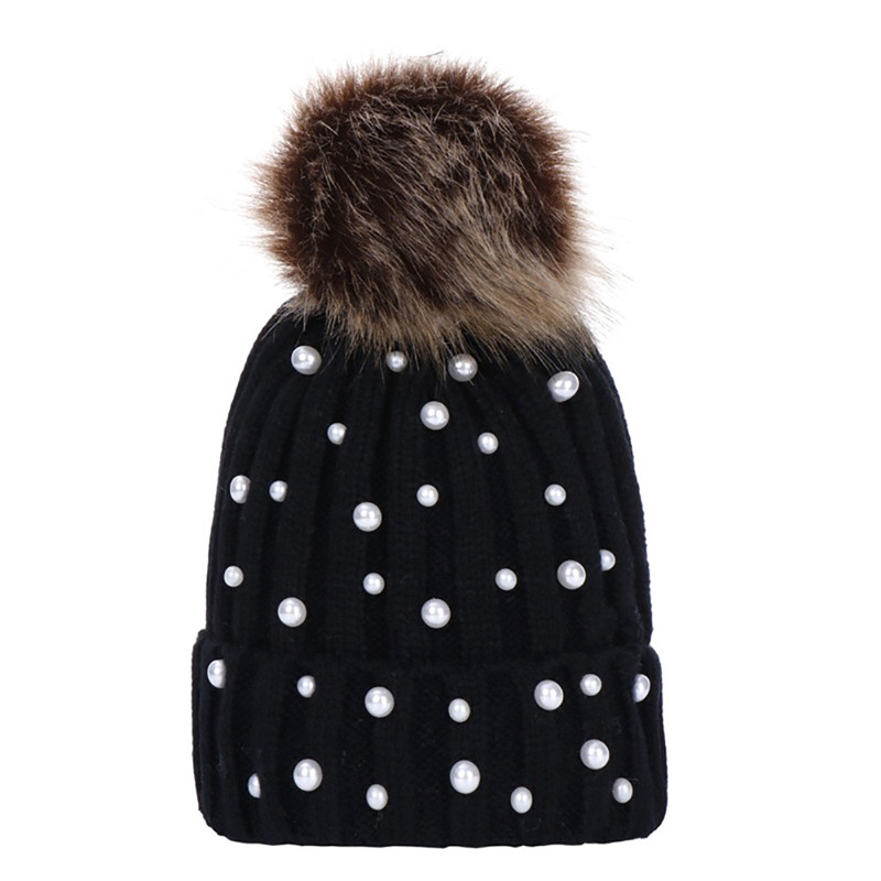 4ce84adafd79e8 Feitong Keep Warm Winter Hat For Women 2018 Fashion Beads Knitted Hat  Feminina Beanie Hairball Thick Warm Caps ~ Top Deal July 2019