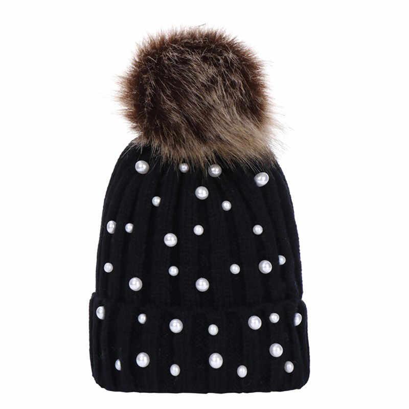 Feitong mantener caliente sombrero de invierno para las mujeres 2018 granos  de la manera punto Feminina 0f7df72876c