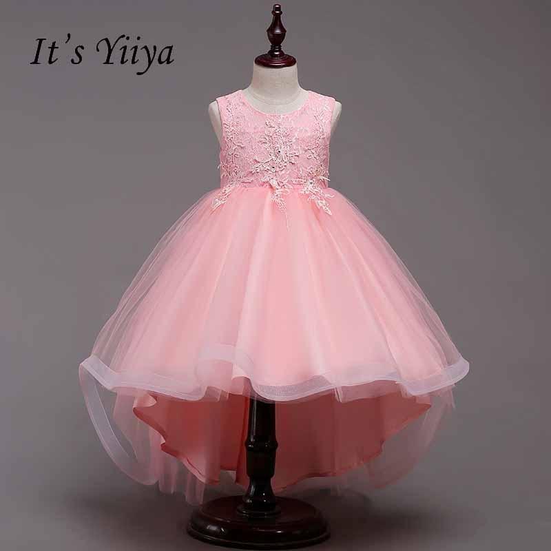 It's yiiya Bow Lace Zipper   Flower     Girl     Dress   Low High Kid Child Cloth Princess Ball Gown   Dress   For Party Wedding   Girl     Dress   S232
