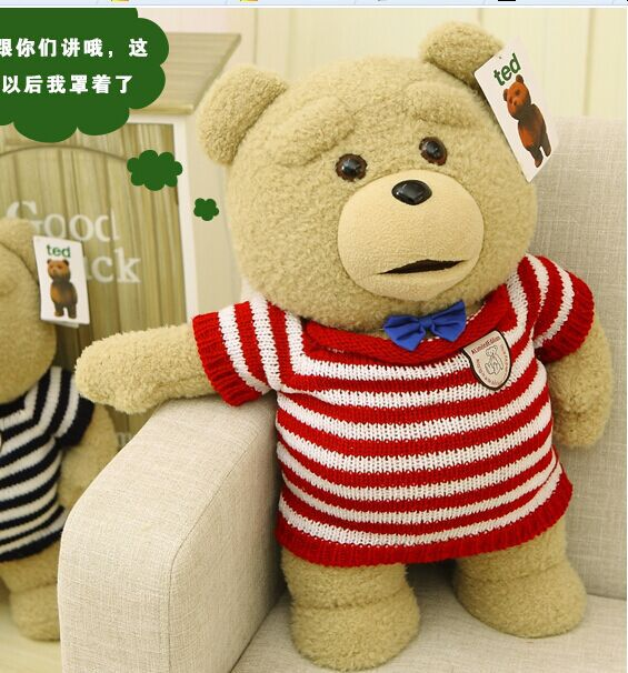big lovely plush teddy bear doll creative red-stripe sweater Ted bear toy gift about 60cm new creative plush bear toy cute lying bow teddy bear doll gift about 50cm