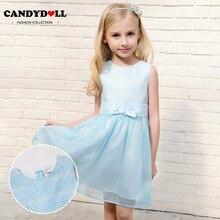 CANDYDOLL Summer new childrens dress, girls blue princess small mesh dress