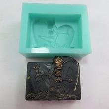 QT0011 Σιλικόνη Tombstone Σαπούνια καλούπια Κρόκος Απόκριες Διακόσμηση Ανατριχιαστικό σαπούνι Σκελετός σαπούνι Μούχλα στο χέρι Χειροποίητο χύτευσης