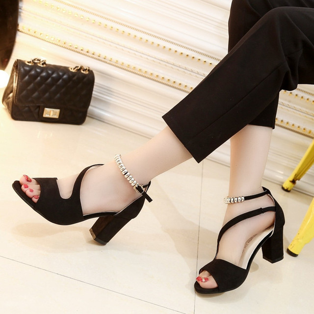 Sandals Women 2017 Summer Fashion Sandals Sexy Suede Shallow Mouth Women Shoes Normal Size 35-39 Zapatos Mujer Chaussure Femme
