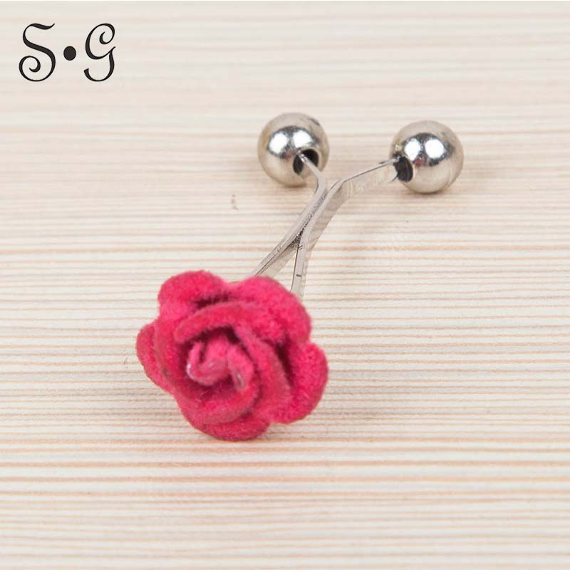120pcs/pack rose flower Muslim Brooch clip Hijab Scarf clips customized six colors free pin cover Scarf pin Wedding Pin stylish rose leaf tassel voile scarf