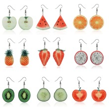 Acrylic Cute Fruit Earrings Strawberry pineapple tomato kiwi orange cucumber dragon apple Pineapple fruit Earrings Dainty Gift