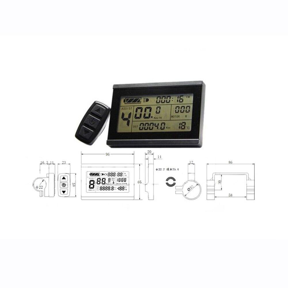 LCD3 affichage mètre télécommande 24/36/48V pour vélo électrique enregistrement en temps réel de la consommation d'énergie