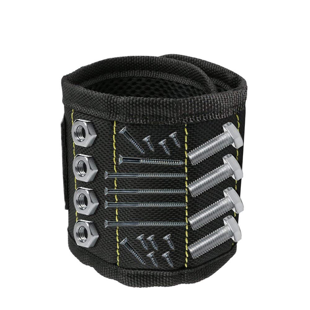 Magnetic Wristband 3 Rows Strong Magnets Adjustable Magnetic Wrist Band For Holding Screws,Nails,Drill Bits And Small Tools