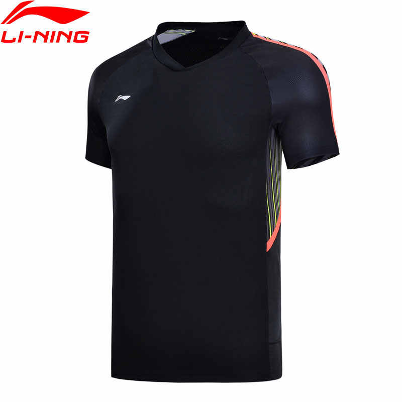 Li-Ning Mannen Badminton Jerseys Nationale Team Sponsor Regular Fit 100% Polyester Ademende Voering Sport T-Shirt AAYN165 CAMJ18