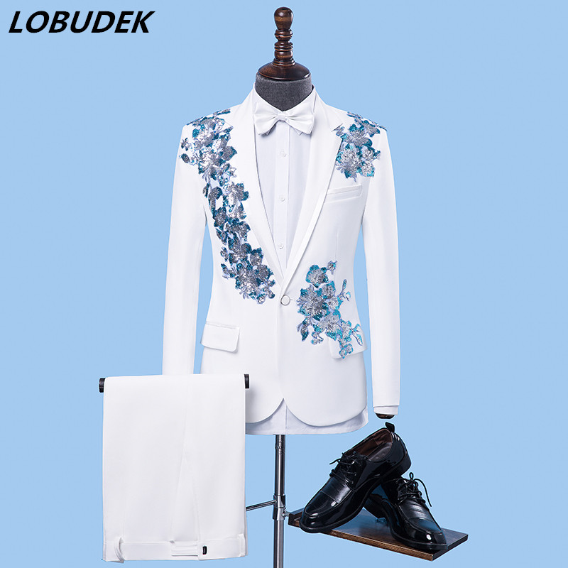 Male adult Performance Suits singer host wedding dresses photo studio suit Formal Prom singer Stage chorus Costume Bar Club show