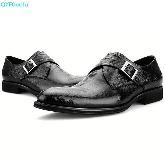 QYFCIOUFU Brand 100% Genuine Leather Monk Strap Shoes Men Oxfords Handmade Designers Formal Crocodile Pattern Men Dress Shoes