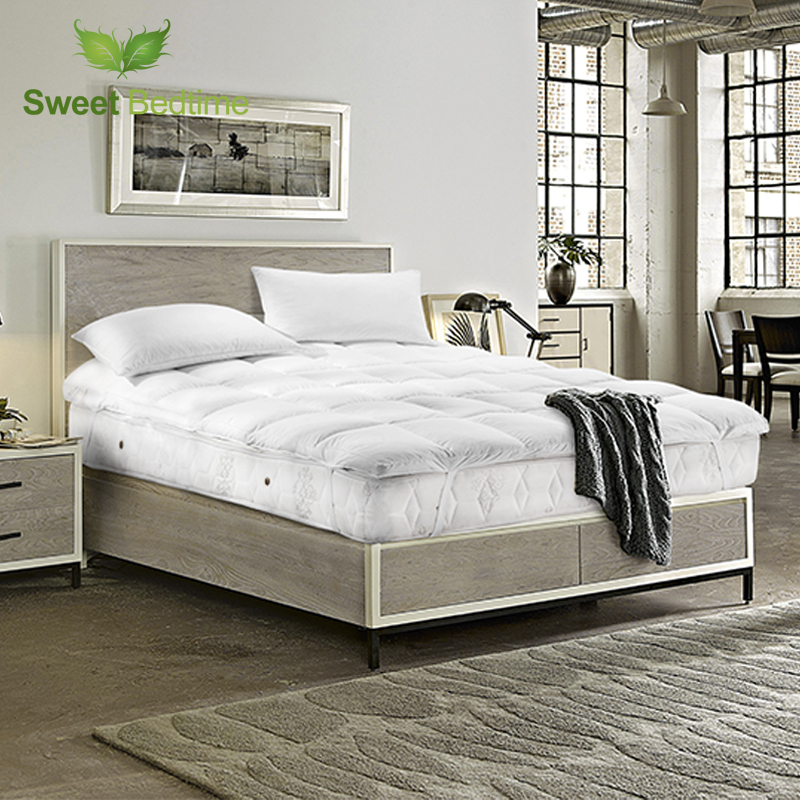 hotel cheap twin king queen size 233 tc 100cotton featherbed small white goose feather mattress pad topper protecter tatami mat