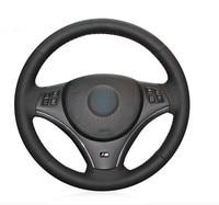 Black Artificial Leather Car Steering Wheel Cover for BMW E90 325i 330i 335i E87 120i 130i 120d