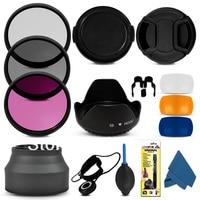 1set Professional 72MM Filter CPL+UV +fld + Lens Hood + Cap +Blower Cleaning Kit for Canon nikon sony DSLR camera lens filter