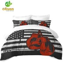 American Flag Bedding Set Football Rugby Gloves Print Duvet Cover Set Flag Design Bedding Soft Bedclothes Pillowcase 3Pcs D40