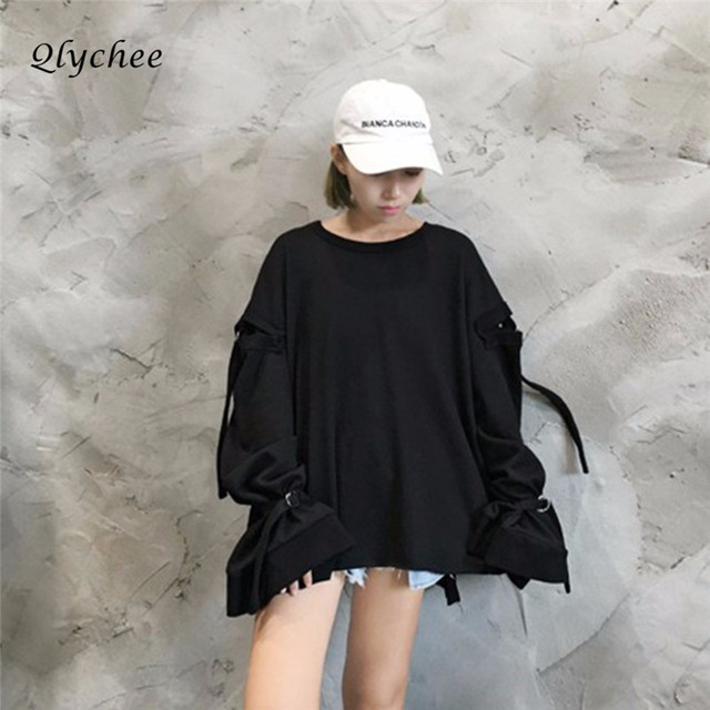 Qlychee Fashion Women Female Hollow Out Metal Buckle Flare Sleeve Shirt Blouse Vintage Long Sleeve Loose Blouse Blusas