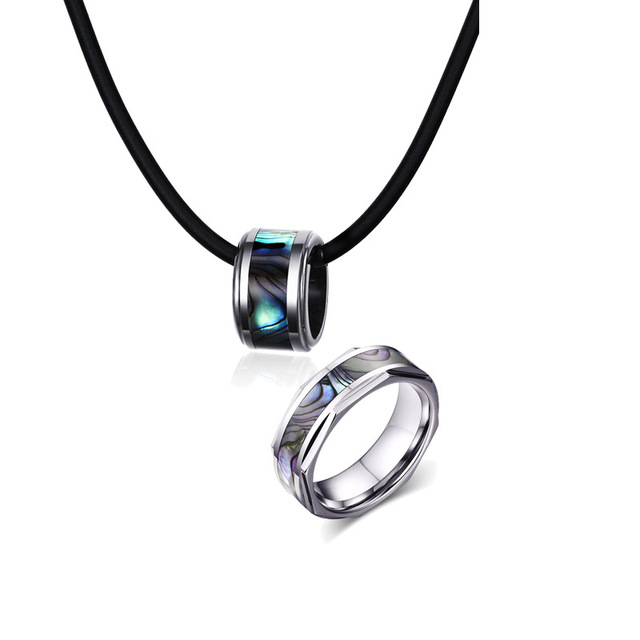 Fashion Mens Necklace Rings Set Tungsten Carbide Abalone Shell Inlay
