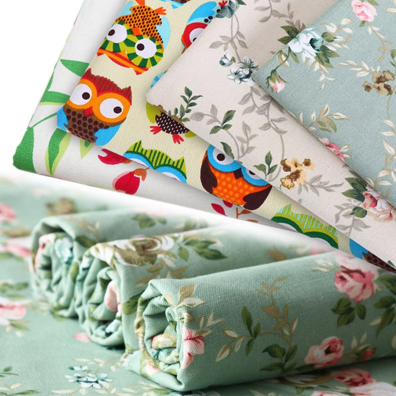 Thickened 10 amp polyester printed canvas cartoon rag cotton fabric DIY children's Wear cloth make bedding quilt decoration home
