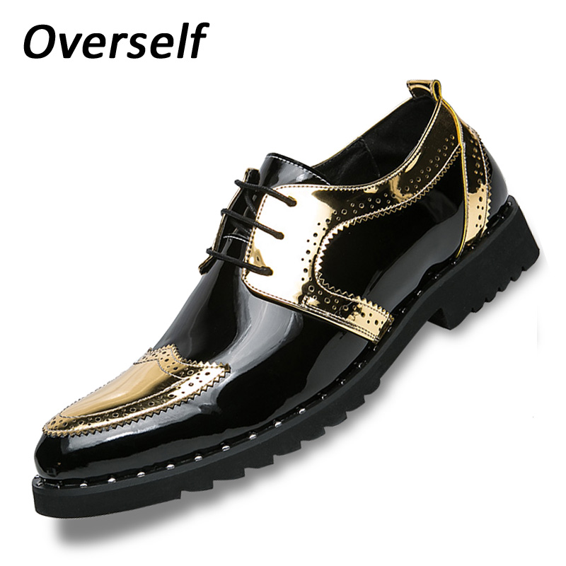New Bullock Oxfords Shoes For Men Plus Big Size 47 48 Fashion PU Leather Men Dress Shoes Pointed Toe Lace Up Designer Luxury new brand designer formal men dress shoes lace up business party oxfords shoes for men pointed toe brogues men s flats plus size