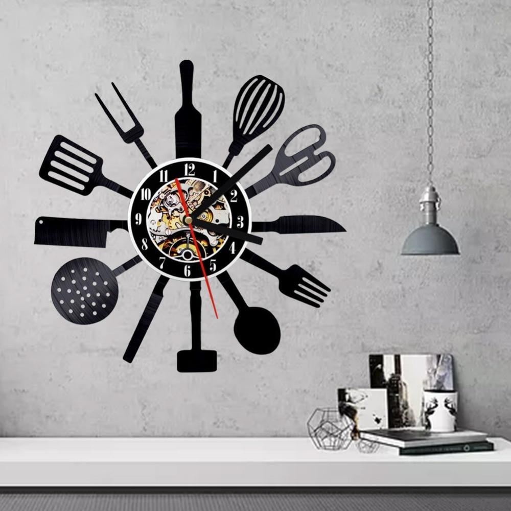 Merveilleux Cutlery Wall Clock Modern Design Spoon Fork Clock Kitchen Watch Vintage  Retro Style Vinyl Record Wall