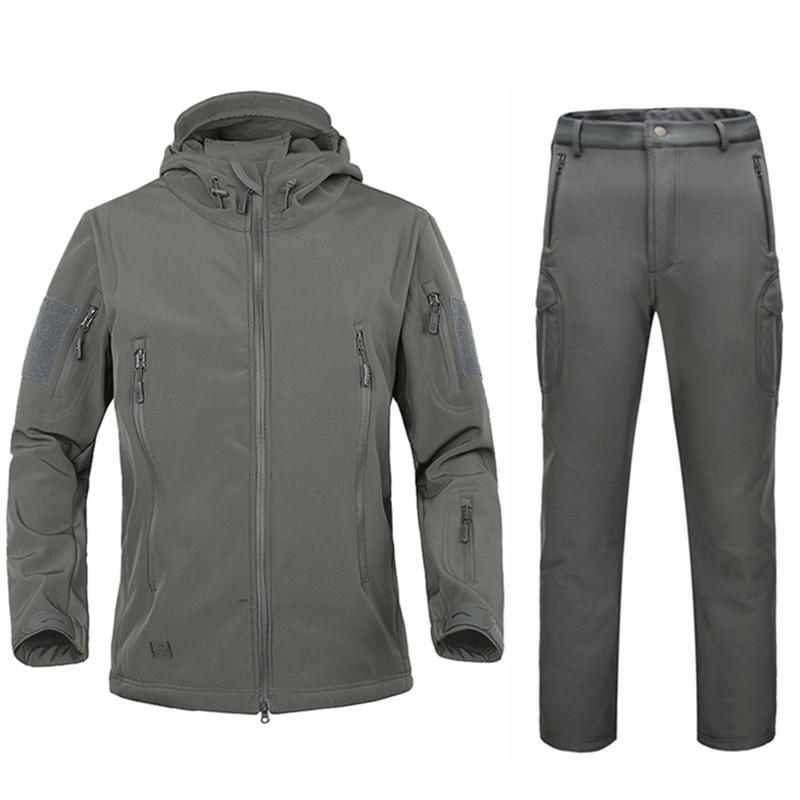 Militaire armée hommes s hiver vestes manteaux costume manteau d'hiver mâle softshell camouflage polaire veste chaude à long pantalon costume