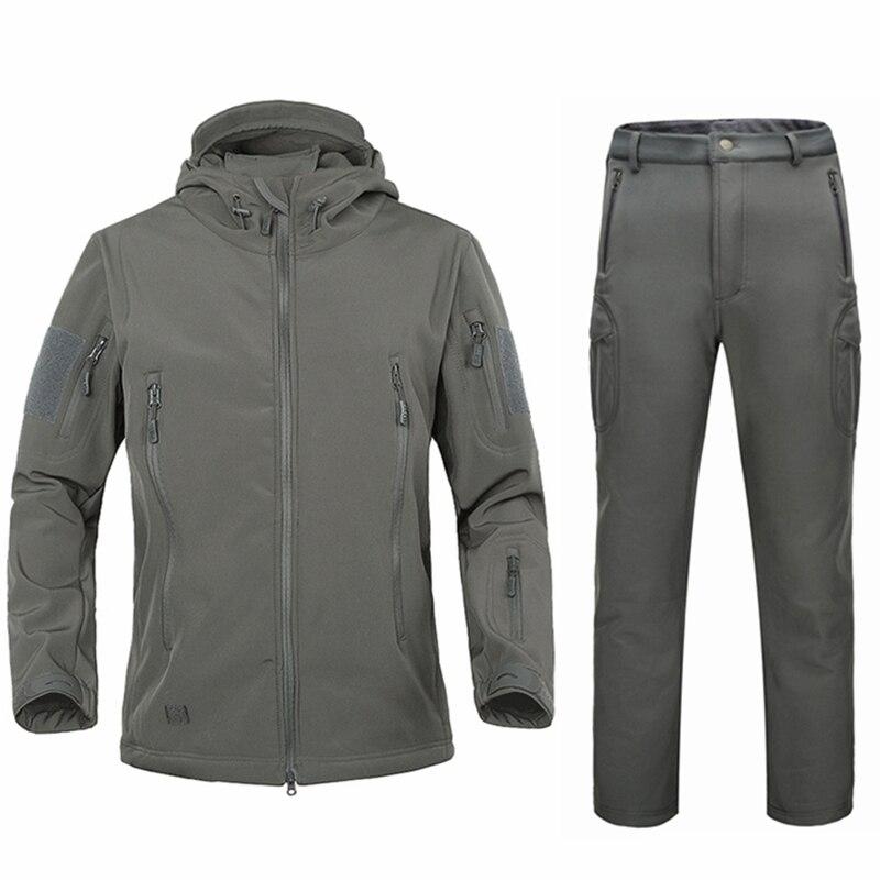 Militare dell'esercito degli uomini di s giacche invernali cappotti vestito di cappotto di inverno maschio softshell camouflage polar fleece jacket warm lungo vestito di pantaloni