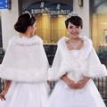 White Bridal Faux Fur Cape Wrap Shrug Stole Wedding Princess Shawl Poncho Party
