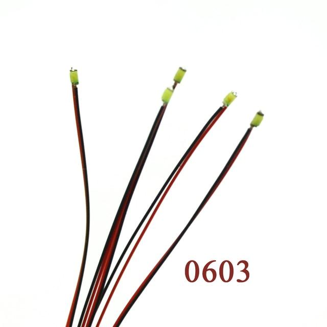 0603 SMD Model pociągu HO N OO skala wstępnie lutowane mikro litz przewodowe diody LED przewody 20 cm