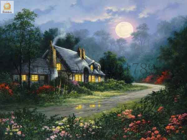 Needlework Resin Square DIY 5D Diamond Painting Cross Stitch Kits Full Embroidery Summer Cottage Garden Pattern Wall Stickers In