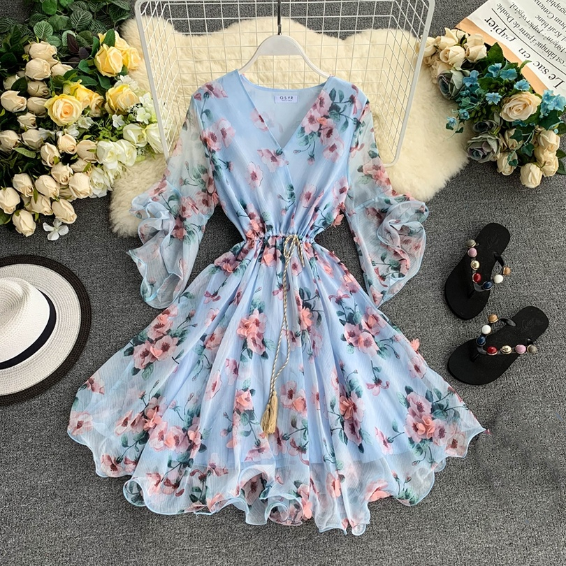 TAOVK Woman V-neck Flared Sleeve Chiffon Flower Print A-Line Dress(China)
