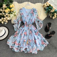 TAOVK Woman V neck Flared Sleeve Chiffon Flower Print A Line Dress