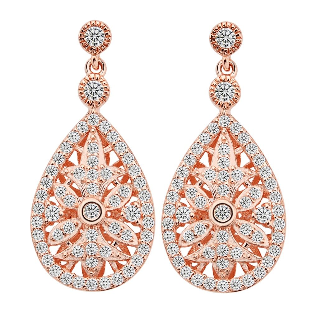 BELLA Wedding 925 Sterling Silver Cubic Zircon Art Deco Classic Earrings Rose Gold Tone Bridal Engagement Accessories Earrings