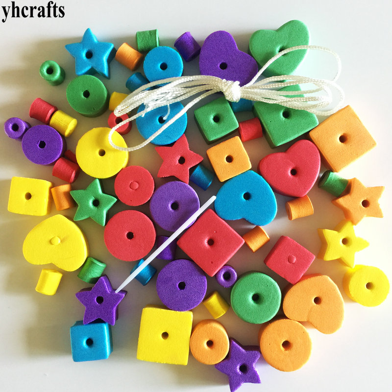 1bag(65PCS)/LOT.Geometric Figure Foam Lacing Beads.Creative Handwork.Early Educational Toys.Kindergarten Crafts Beads Toys Cheap