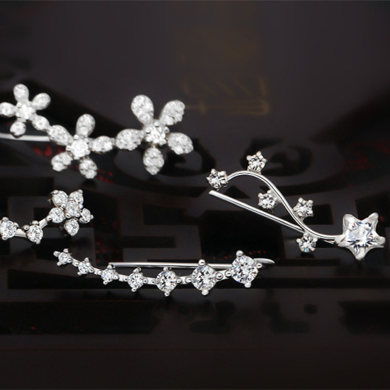 Absolut forbløffende AAA Cubic Zirconia sølv ørejakke Kvinder - Smykker - Foto 3