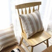 цены на Modern Simple Solid Square Striped Print Cotton Throw Pillowcase Cushion Cover Sofa Livingroom Car Home Office Decorative Gift  в интернет-магазинах