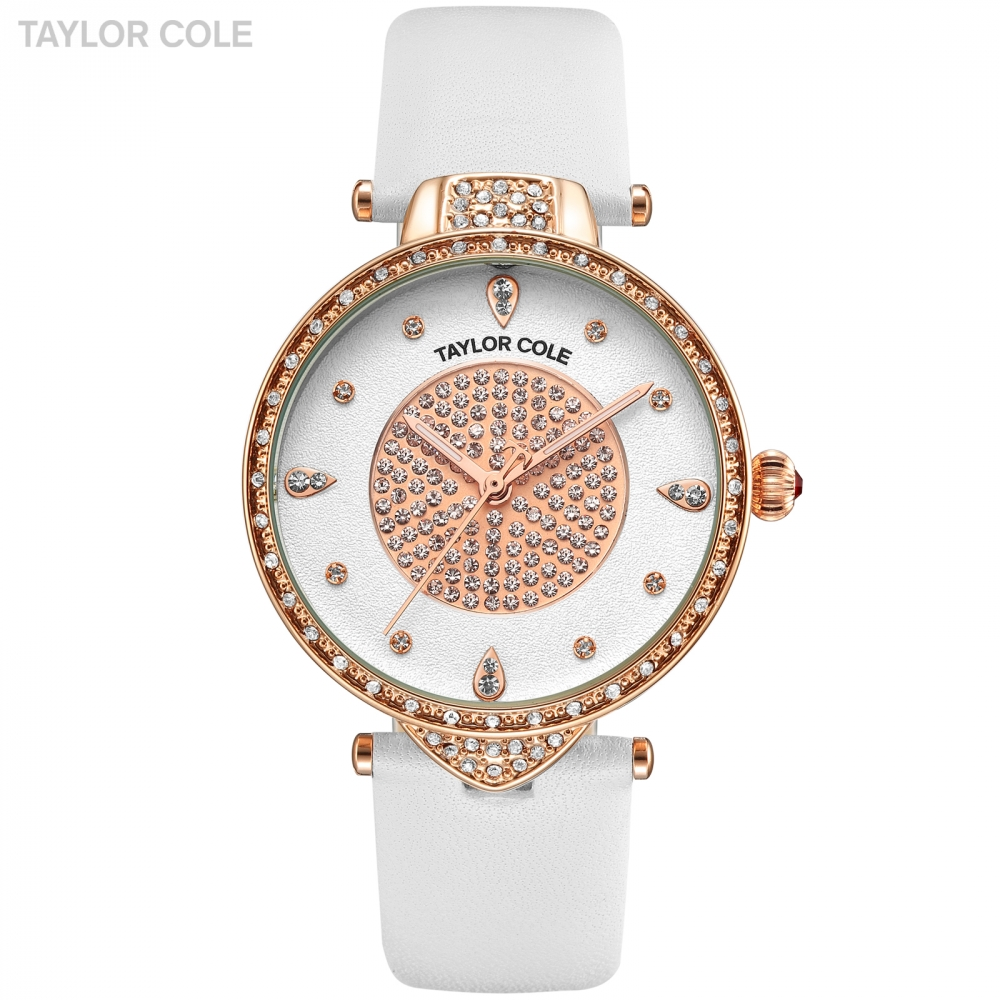 Luxury Taylor Cole Brand Watches for Women Rose Golden Case White Genuine Leather Watchband Quartz Watch Relojes de Mujer /TC109 taylor cole relogio tc013