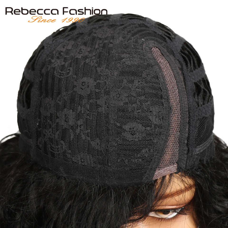 Rebecca Korte Water Wave Menselijk Haar Kant Pruiken Voor Zwarte Vrouwen Peruaanse Remy Haar Kort Krullend Bob Natuurlijke Golf Ombre blonde Pruik