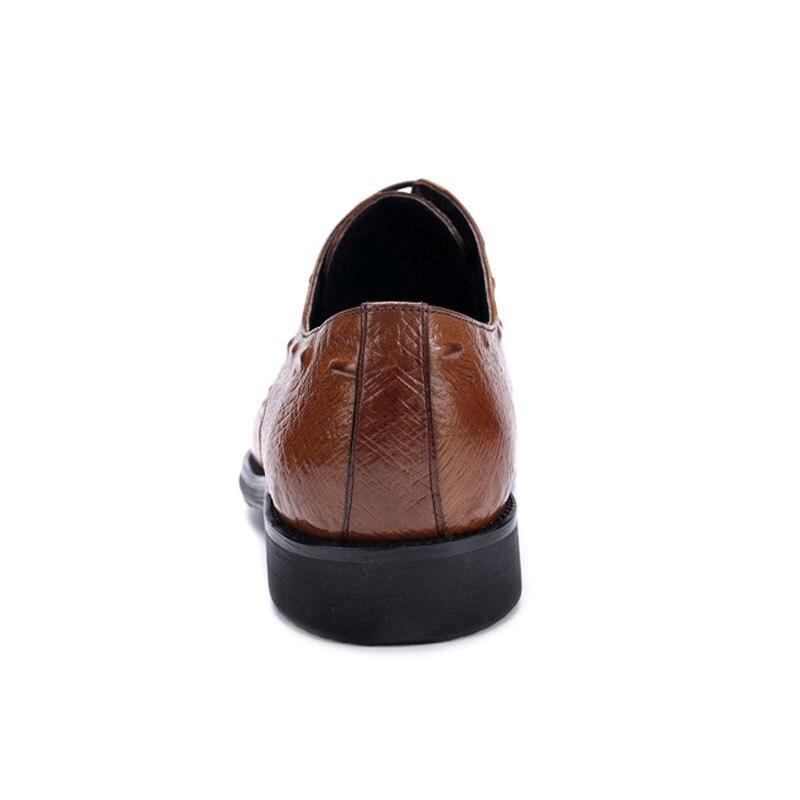 Luxo Preto Apartamentos Genuíno Homem Homens Formal Derby Casamento Dos Alta Pé Qualidade vermelho Artesanal Ss340 Vinho De Sapatos Calçados Do Redondo Dedo Couro Vestido Jacaré marrom xBFBq0zw7
