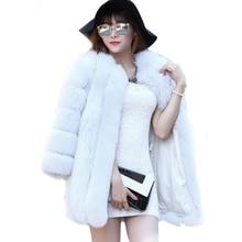Real High imitation fox fur coat 2016 new long section of white fur coat female splicing fur coat high quality faux fur coats