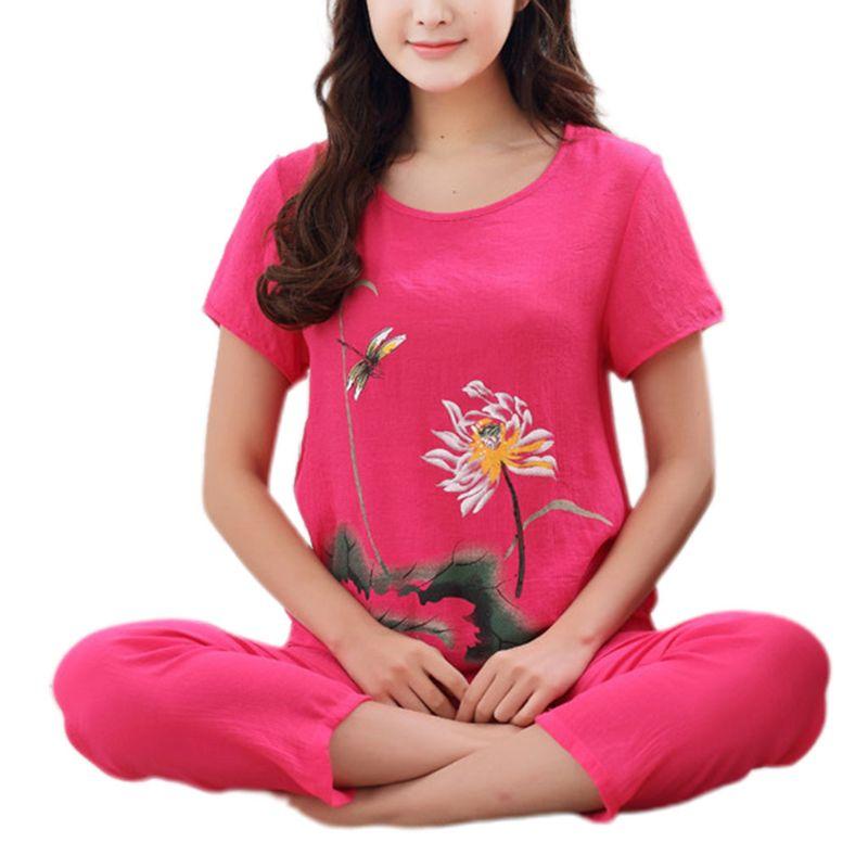 Womens Summer Plus Size Pajamas Set Chinese Lotus Floral Print Short Sleeve Tops Capri Pants Loose Sleepwear Loungewear XL-4XL