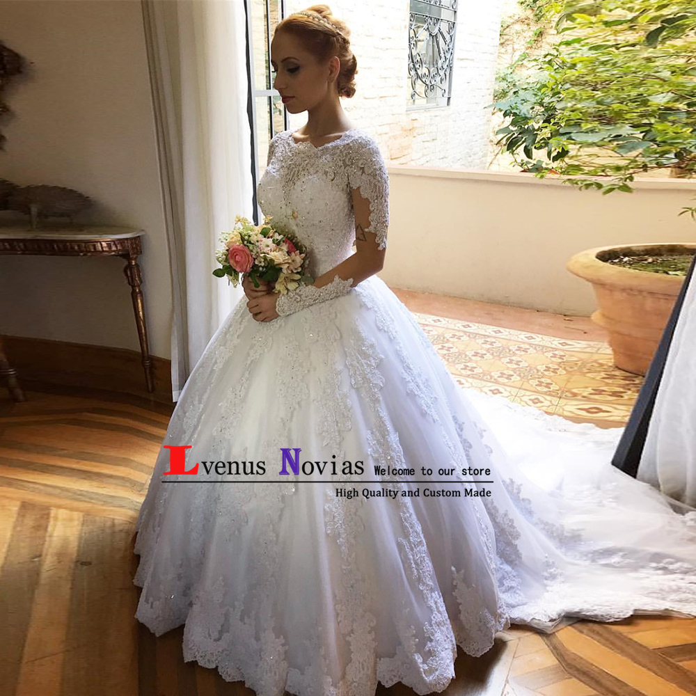 Vestido de noiva plus size Hochzeitskleid White Appliques Lace Beaded Long Sleeves Wedding Dresses 2019 Bride