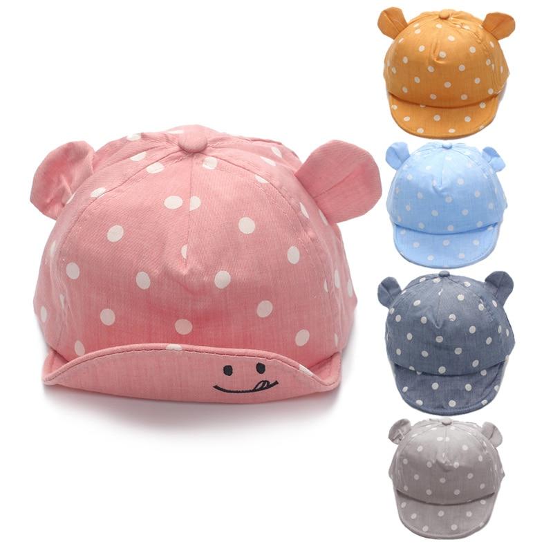 Dot Baby Caps ניו Girl Boys Cap כובעים קיץ לילד תינוקות יום ראשון כובע עם האוזן 2017 Sunscreen Baby Girl כובע באביב אביזרים